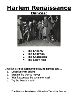 Roaring Twenties- Harlem Renaissance: Dances - activity, reading, videos, more