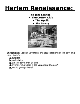 Roaring Twenties: Harlem Renaissance: Jazz Scene/ Locations- Guided Reading Act.