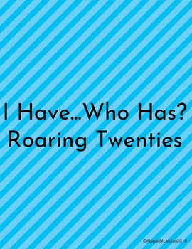 Roaring Twenties I Have Who Has Review Game