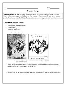 Roaring Twenties President Coolidge Political Cartoon Worksheet