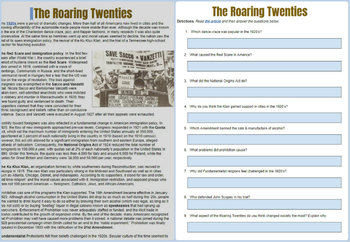 Roaring Twenties Reading Worksheet