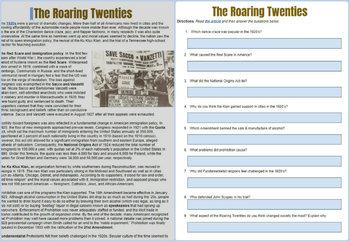 Roaring Twenties Reading Worksheet
