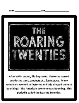 Roaring Twenties STUDY GUIDE- 5th Social Studies