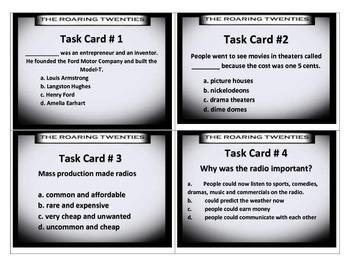 Roaring Twenties Task Cards - 5th Social Studies