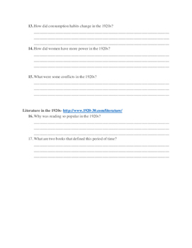 Roaring Twenties WebQuest (with answer key)!