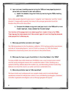 Roaring Twenties Worksheets - wiildcreative