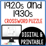 Roaring Twenties and Great Depression Crossword Puzzle