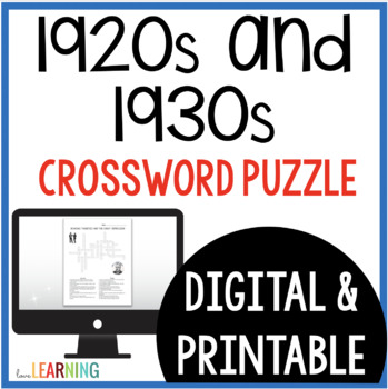 Roaring Twenties and Great Depression Crossword Puzzle