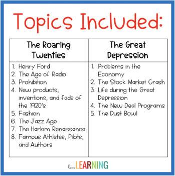 Roaring Twenties and Great Depression Test