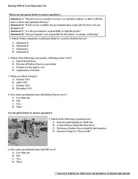 Roaring Twenties and Great Depression Unit Test