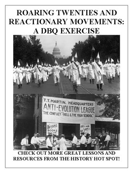 Roaring Twenties and Reactionary Movements: A DBQ Exercise