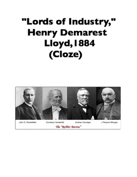 "Robber Barons: The Monopolies of the ""Lords of Industry,"" 1884 (Full-Text Cloze)"