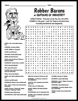 Robber Barons or Captains of Industry Word Search - Gilded Age Activity