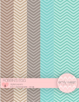 Robbin's Egg - Digital Paper - Chevron Background