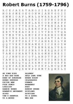 Robert Burns Word Search