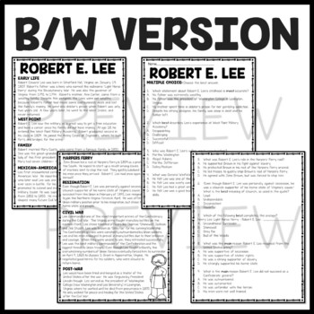 Robert E. Lee Biography Reading Comprehension Worksheet, Civil War