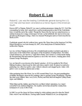 Robert E Lee Biography and Assignment