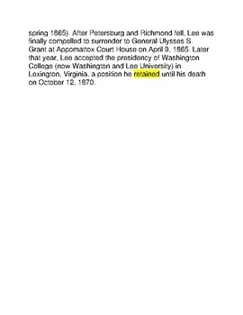 Robert E Lee -- CLOZE Reading Passages
