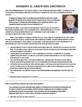 Robert E. Lee Civil War Decision Primary Source analysis