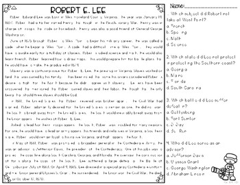 Robert E. Lee Differentiated Reading Passages