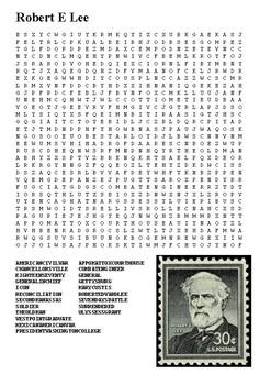 Robert E Lee Word Search