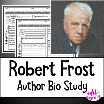 Robert Frost Author Study Activity, Biography Worksheet WITH ANSWER KEY!