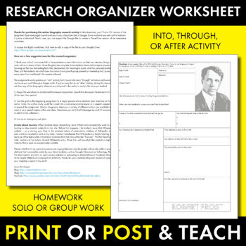 Robert Frost Author Study Worksheet Easy Biography Activity for Frost poems CCSS