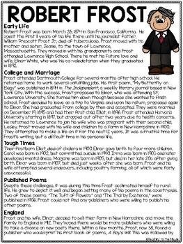 Robert Frost Biography Reading Comprehension Worksheet, Poetry