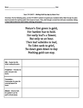 "Robert Frost: Poem ""Nothing Gold Can Stay"""