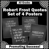 Robert Frost Inspirational Posters, Chalkboard Classroom Theme, Black and White