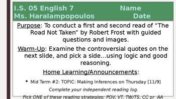 """Robert Frost """"The Road Not Taken"""" PowerPoint"""