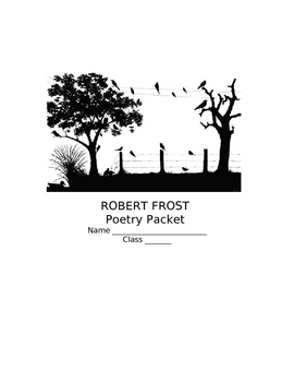 Robert Frost Unit Plan