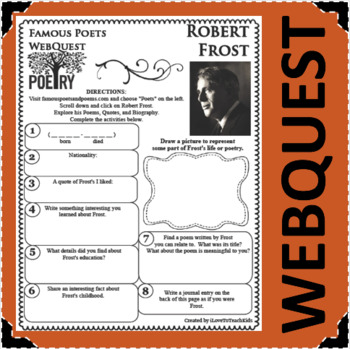 Robert Frost - WEBQUEST for Poetry - Famous Poet
