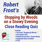 """Robert Frost's """"Stopping By Woods"""" - 25 Question Quiz & Th"""
