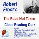 """Robert Frost's """"The Road Not Taken"""" - 25 Question Quiz & T"""