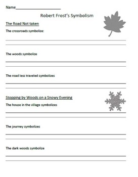 Robert Frost worksheets - The Road Not Taken and Stopping by Woods