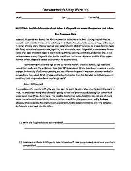 Robert G. Fitzgerald Warm-Up Worksheet