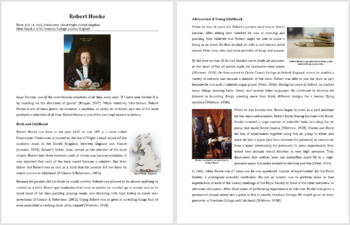 Robert Hooke - A Famous Scientist Reading