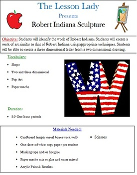 Robert Indiana 3-D Letter Sculpture Lesson
