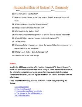 Robert Kennedy Assassination Reading handout and worksheet