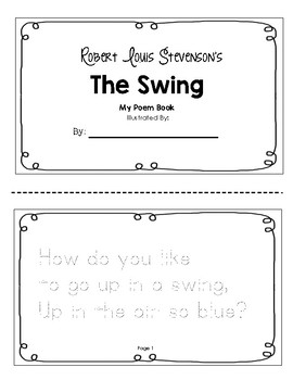 Robert Louis Stevenson's The Swing Tracer Booklet