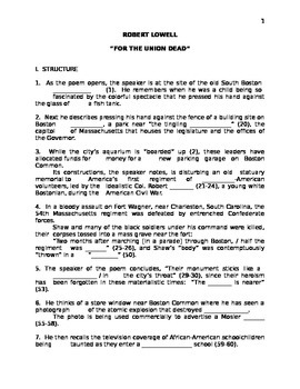 """Robert Lowell's """"For the Union Dead"""" Handout"""