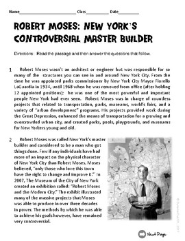 Robert Moses: New York's Controversial Master Builder Test Prep Passage