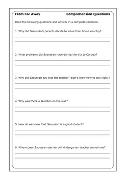 "Robert Munsch ""From Far Away"" worksheets"