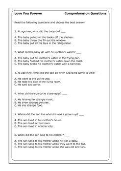 "Robert Munsch ""Love You Forever"" worksheets"