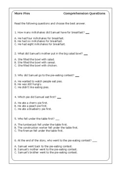"Robert Munsch ""More Pies"" worksheets"