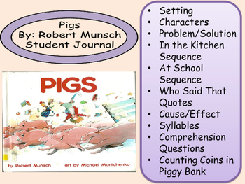 Robert Munsch PIGS Journal Math Comprehension Cause Effect Sequence Elements