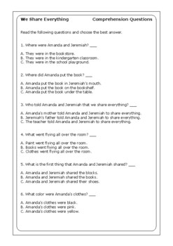 "Robert Munsch ""We Share Everything"" worksheets"