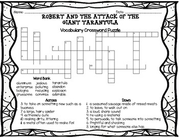 Robert and the Attack of the Giant Tarantula Vocabulary Crossword Puzzle