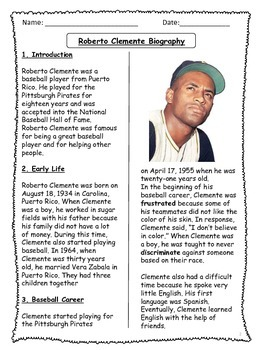 Roberto Clemente Biographical Article and Activities for ESL (CCSS aligned)